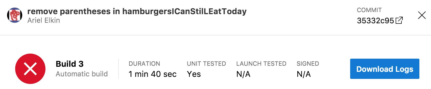 build fails on app center