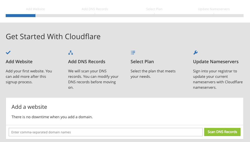 Cloudflare setup screen