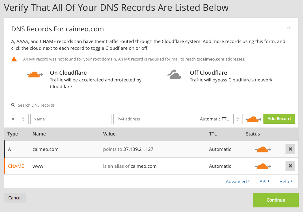 Cloudflare copying DNS records