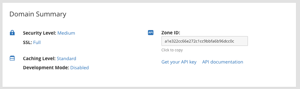 Cloudflare domain account level screen