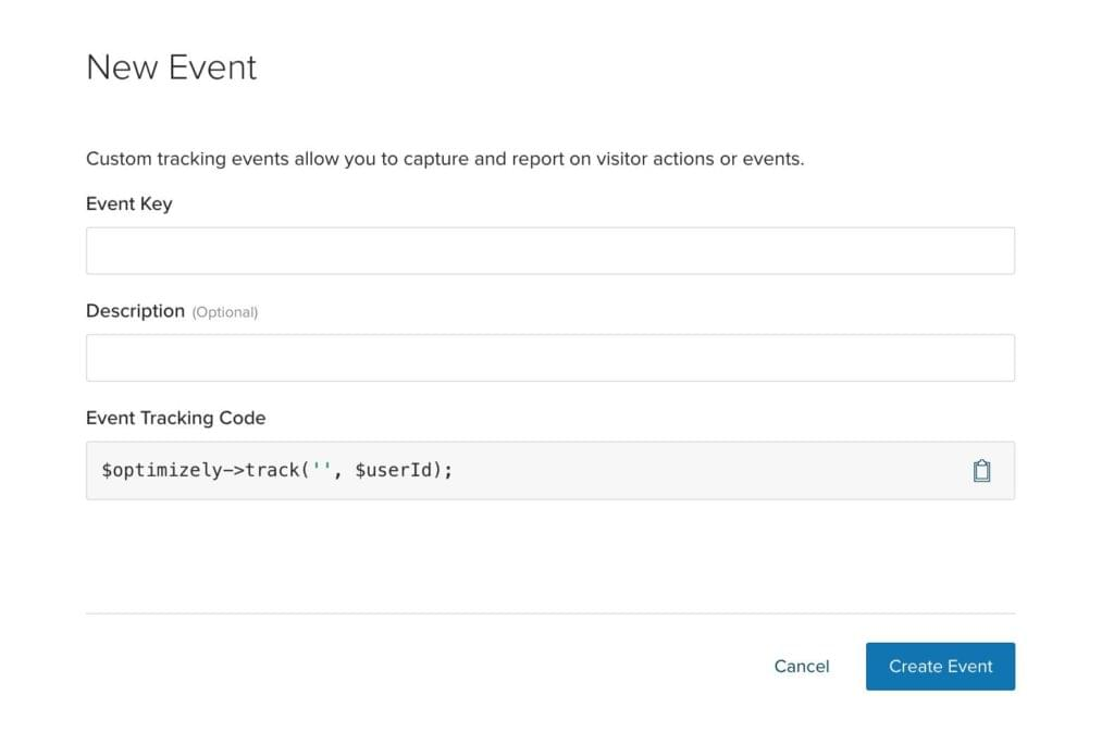 Creating a new event