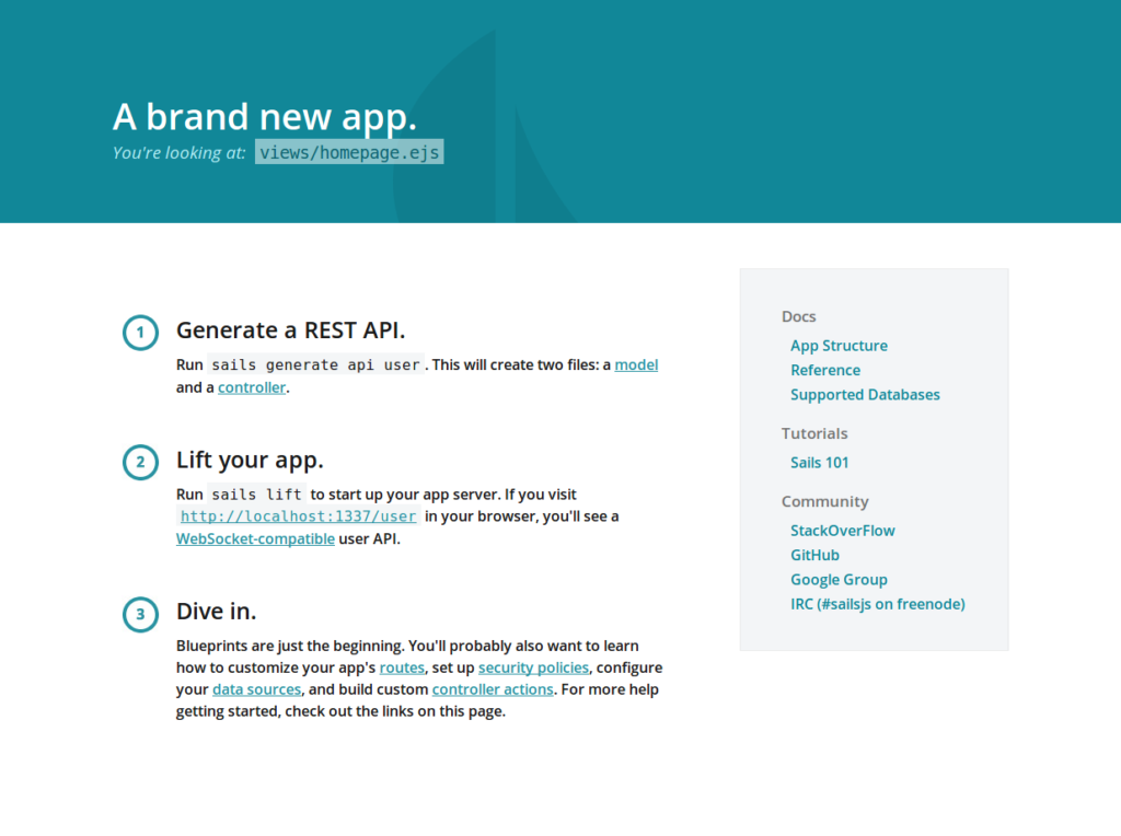 Sails.js front-end project home page