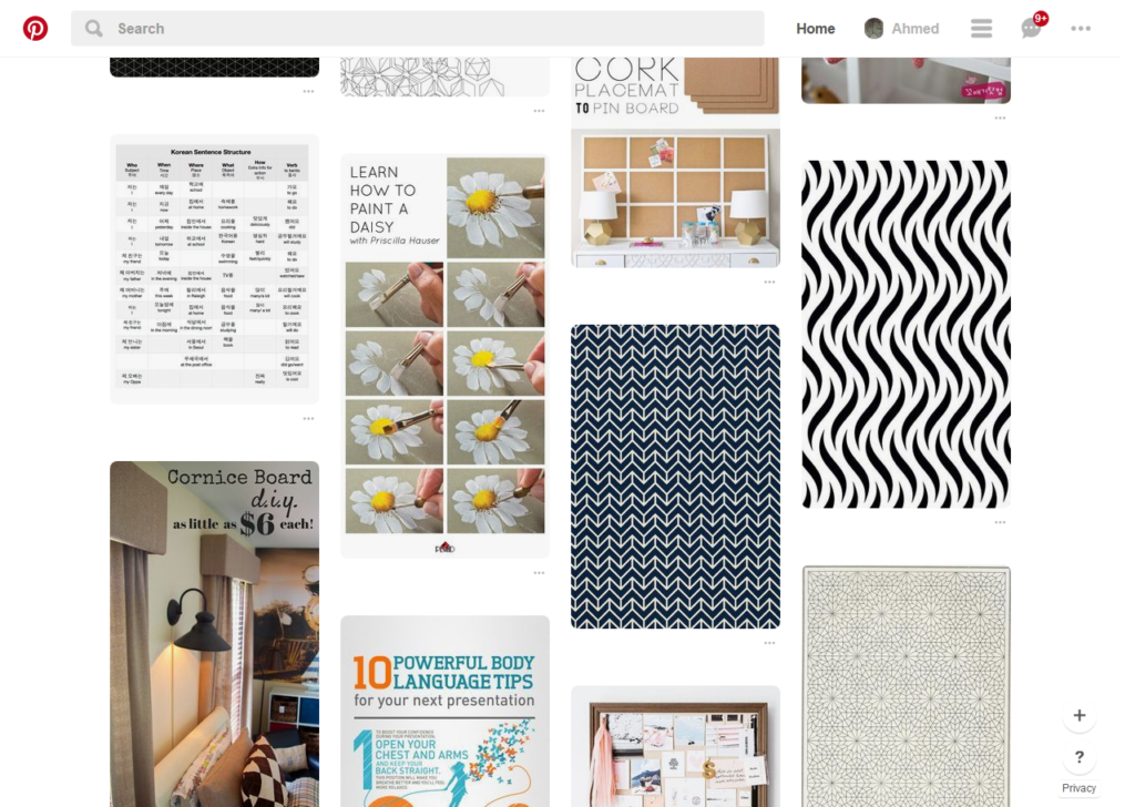 A Pinterest card layout