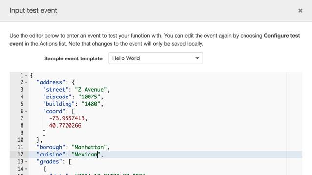 Input test event