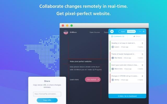 Collaboration among team members for pixel-perfect websites with Visual Inspector