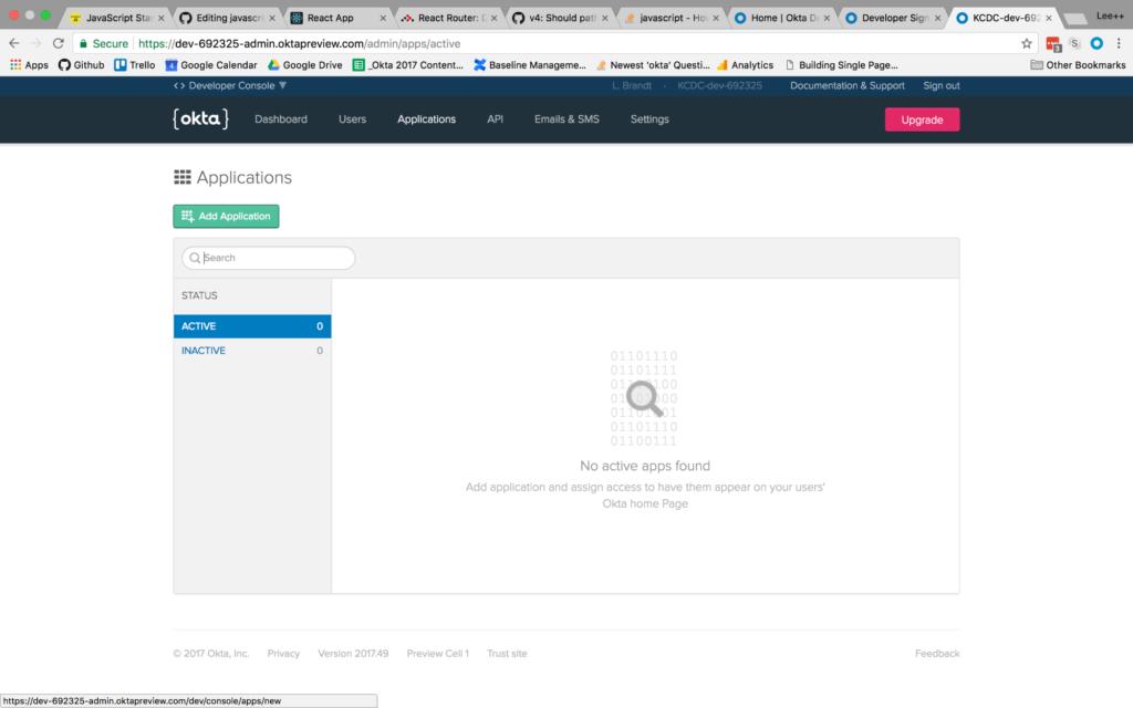application listing screen