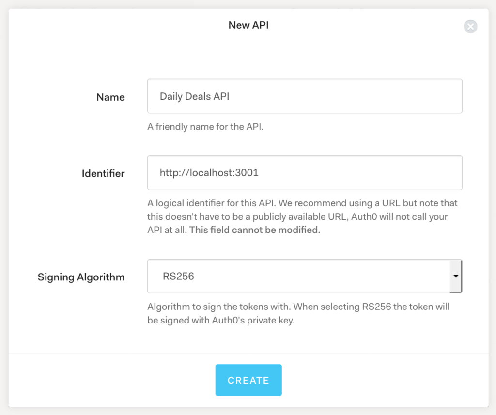 Creating Auth0 API