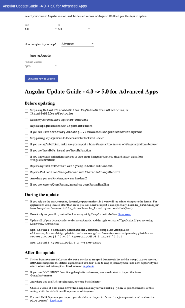 Angular Update Guide Results