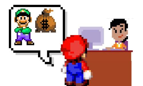Mario sending money to Luigi through the bank