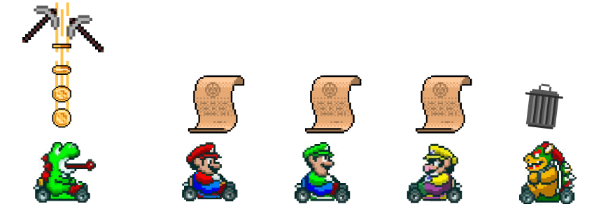 Yoshi gets a reward, Bowser throws his paper away