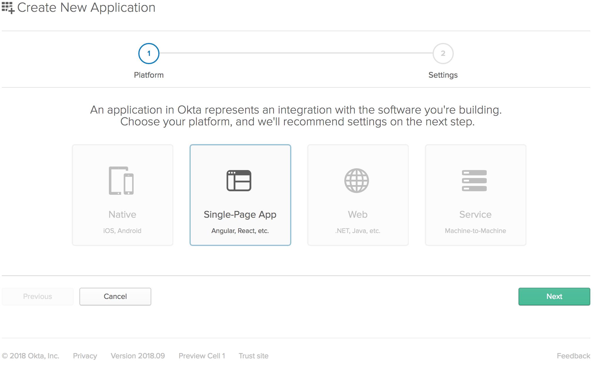 Create Application Screen SPA
