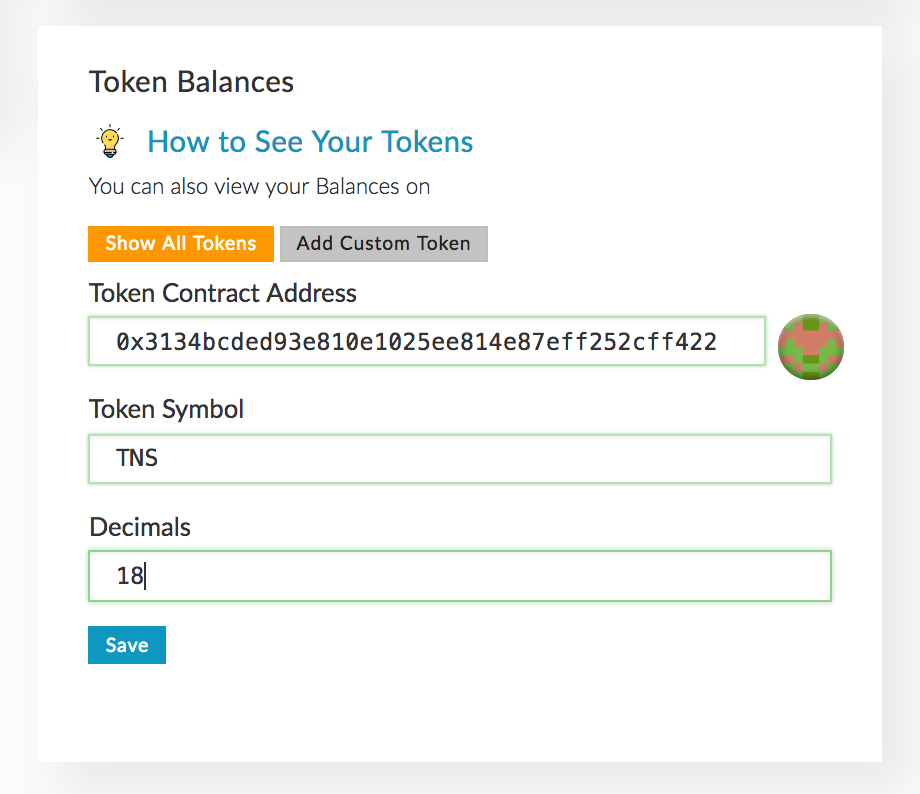 Adding a custom token in MEW