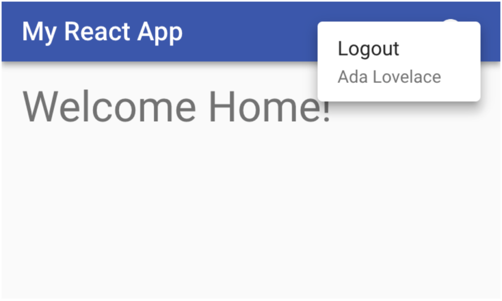 homepage without logout button