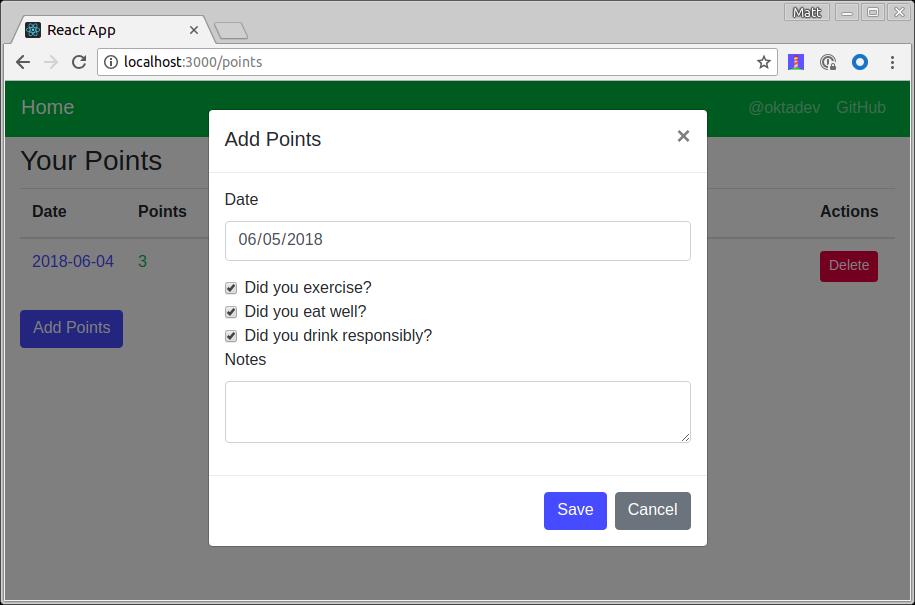 Add Points Modal