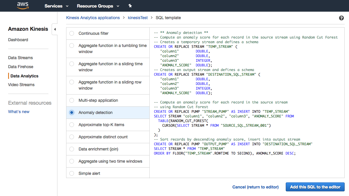 Figure 8. Amazon Data Analytics - Anomaly Detection Example