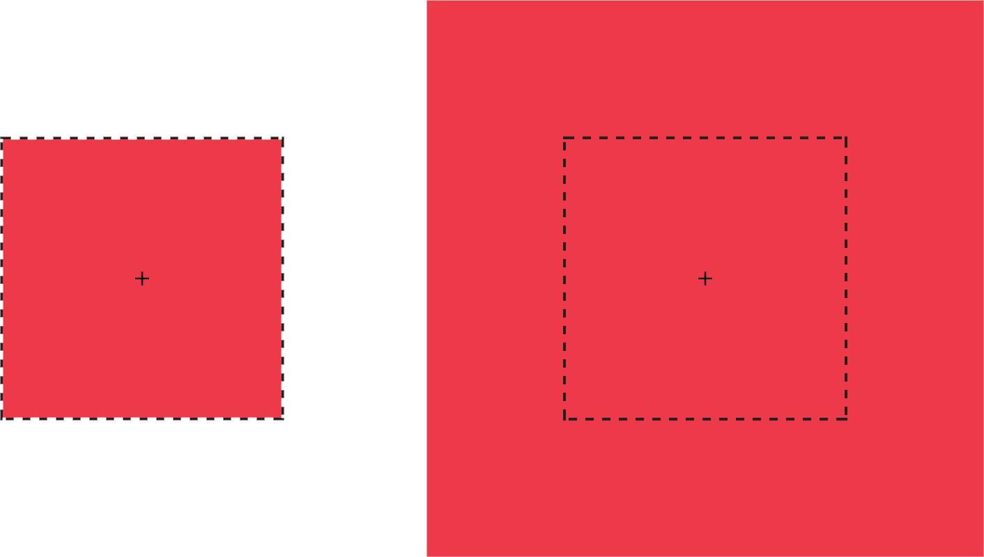 A box (left) is scaled by a factor of 2 (right)
