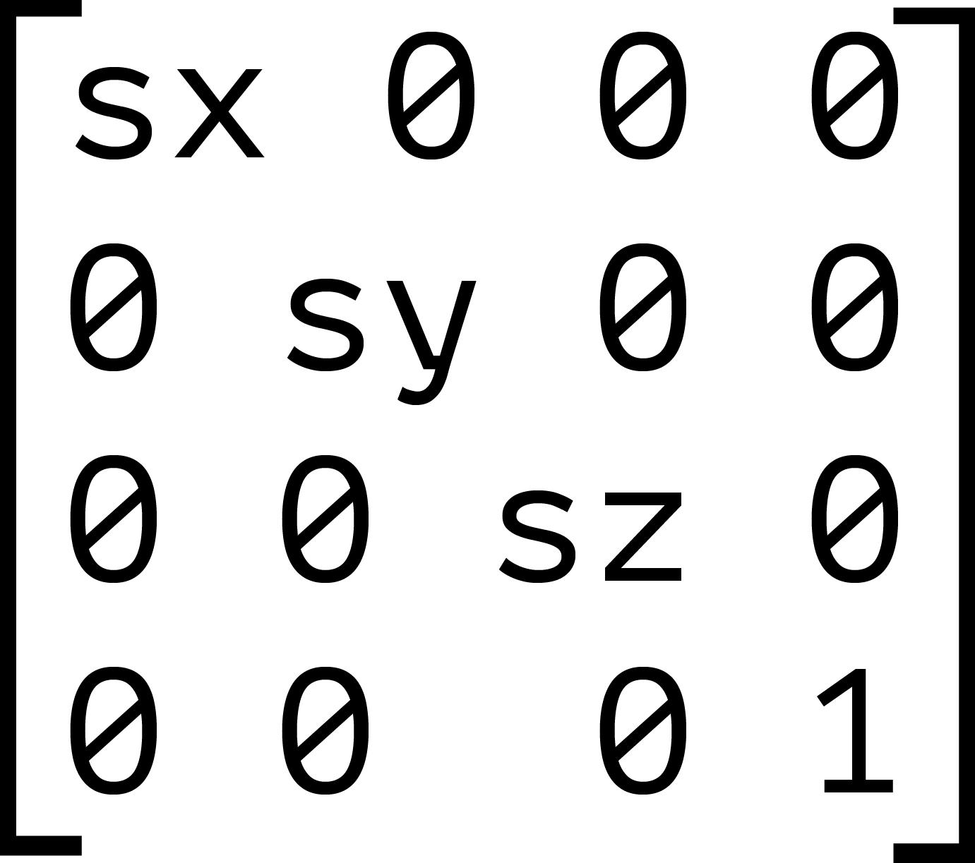The 4×4 scaling transform matrix