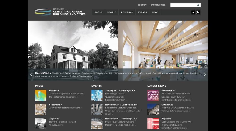 Le site Web du Harvard Center for Green Buildings and Cities