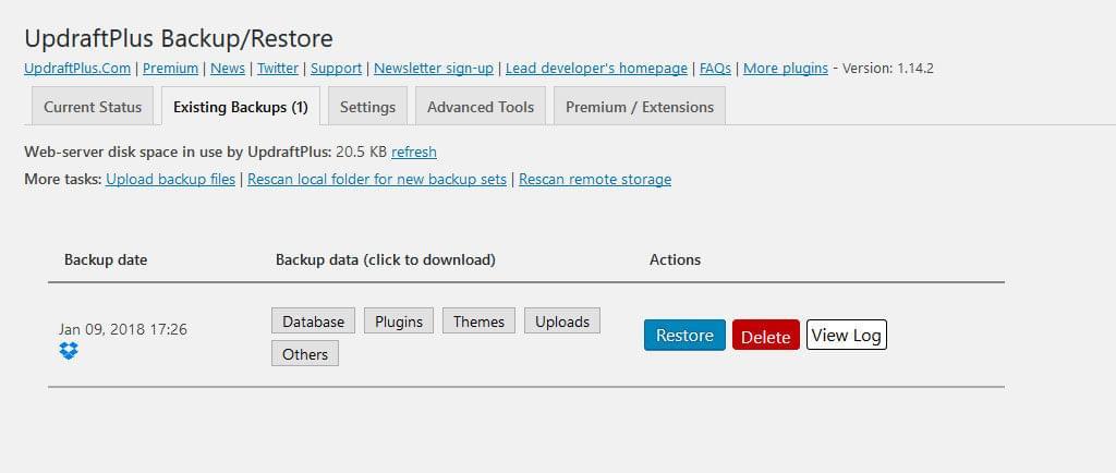 UpdraftPlus list of remote backups