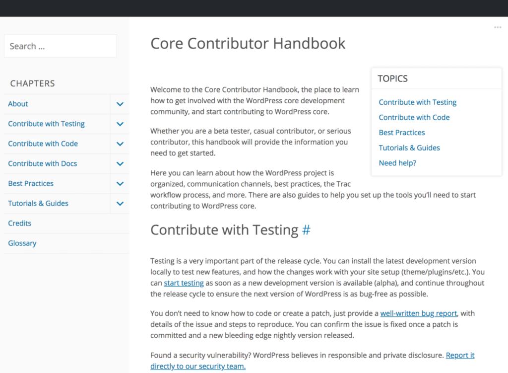 The Core Contributor Handbook website