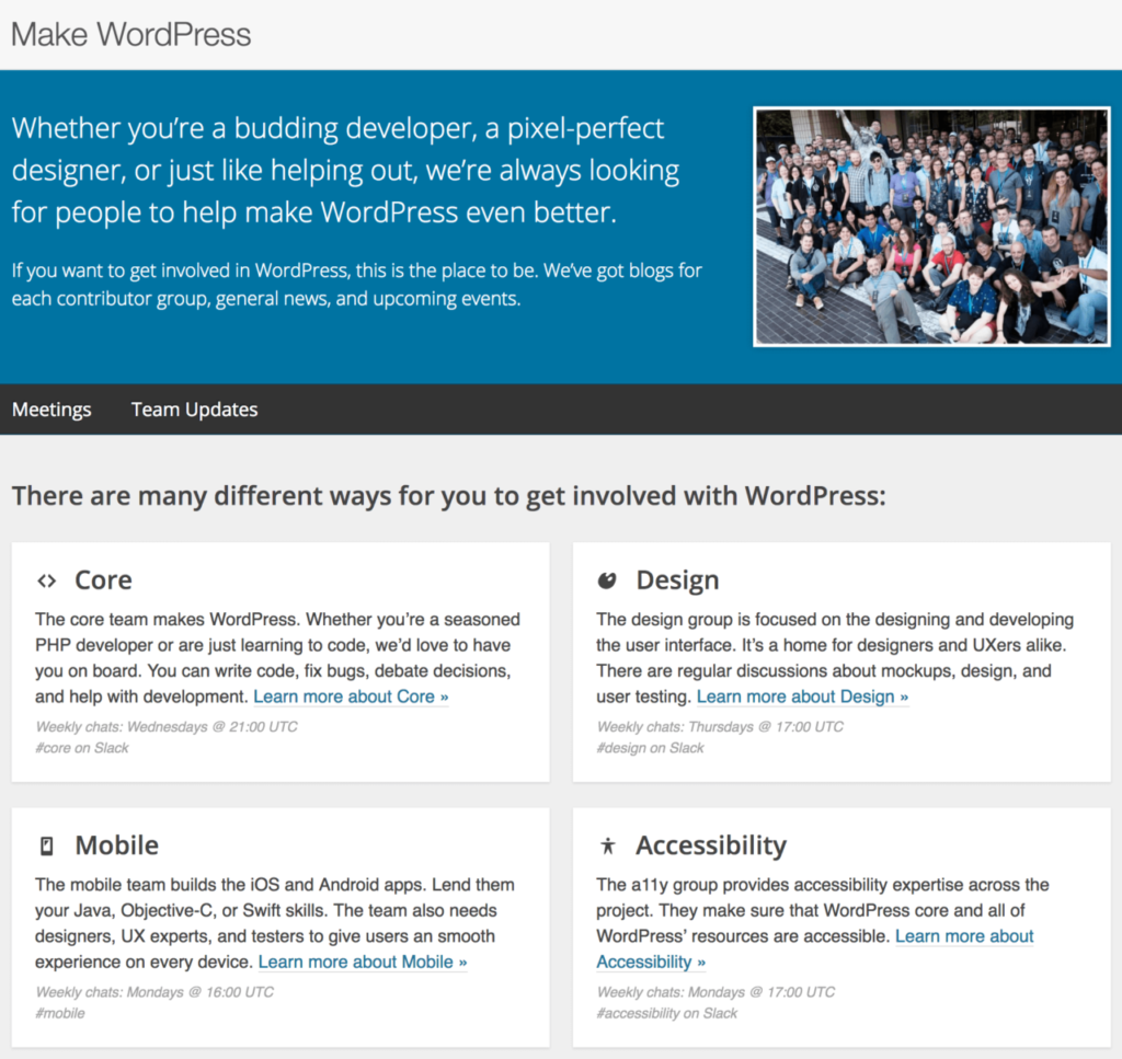 The Make WordPress website