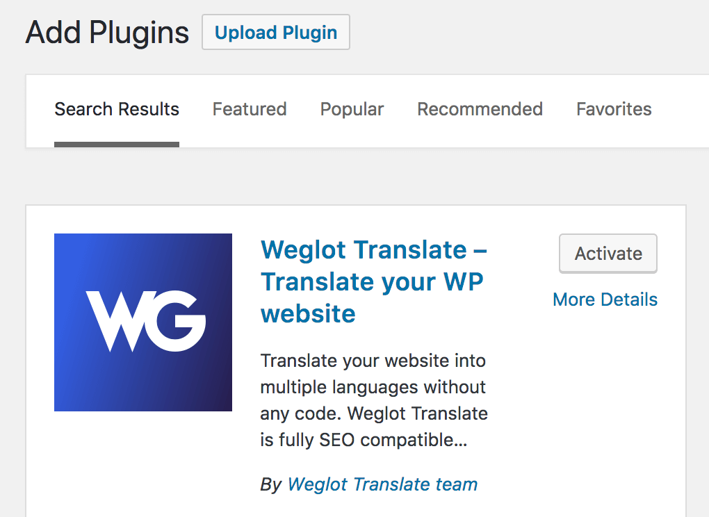 Weglot in the plugin directory