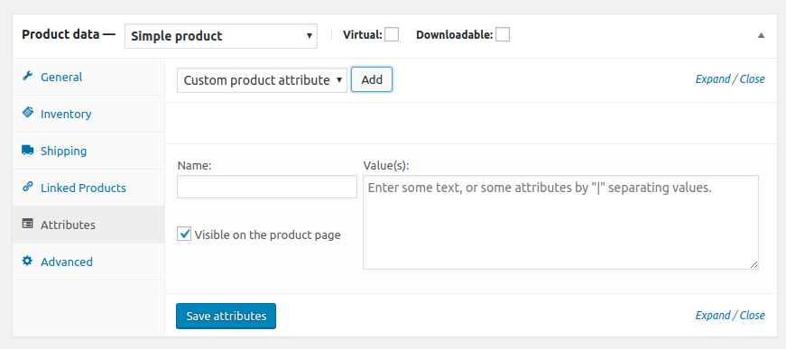 Product data attributes