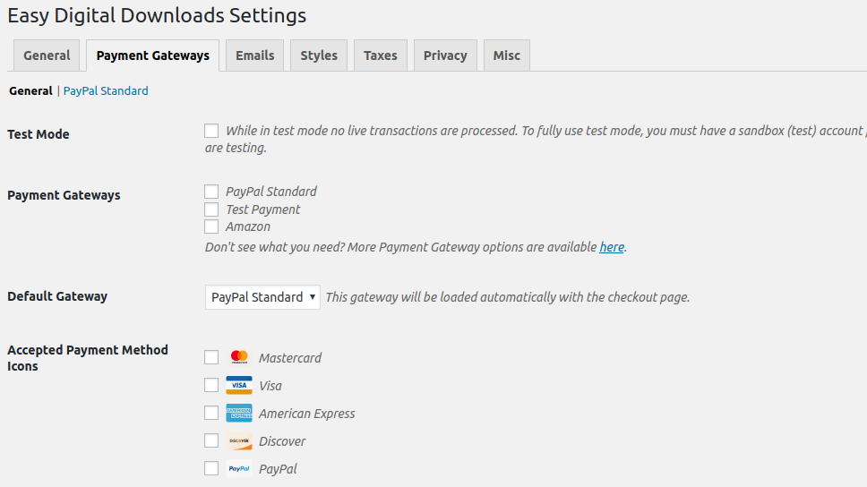Settings for payment gateways