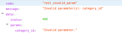 An invalid parameter error