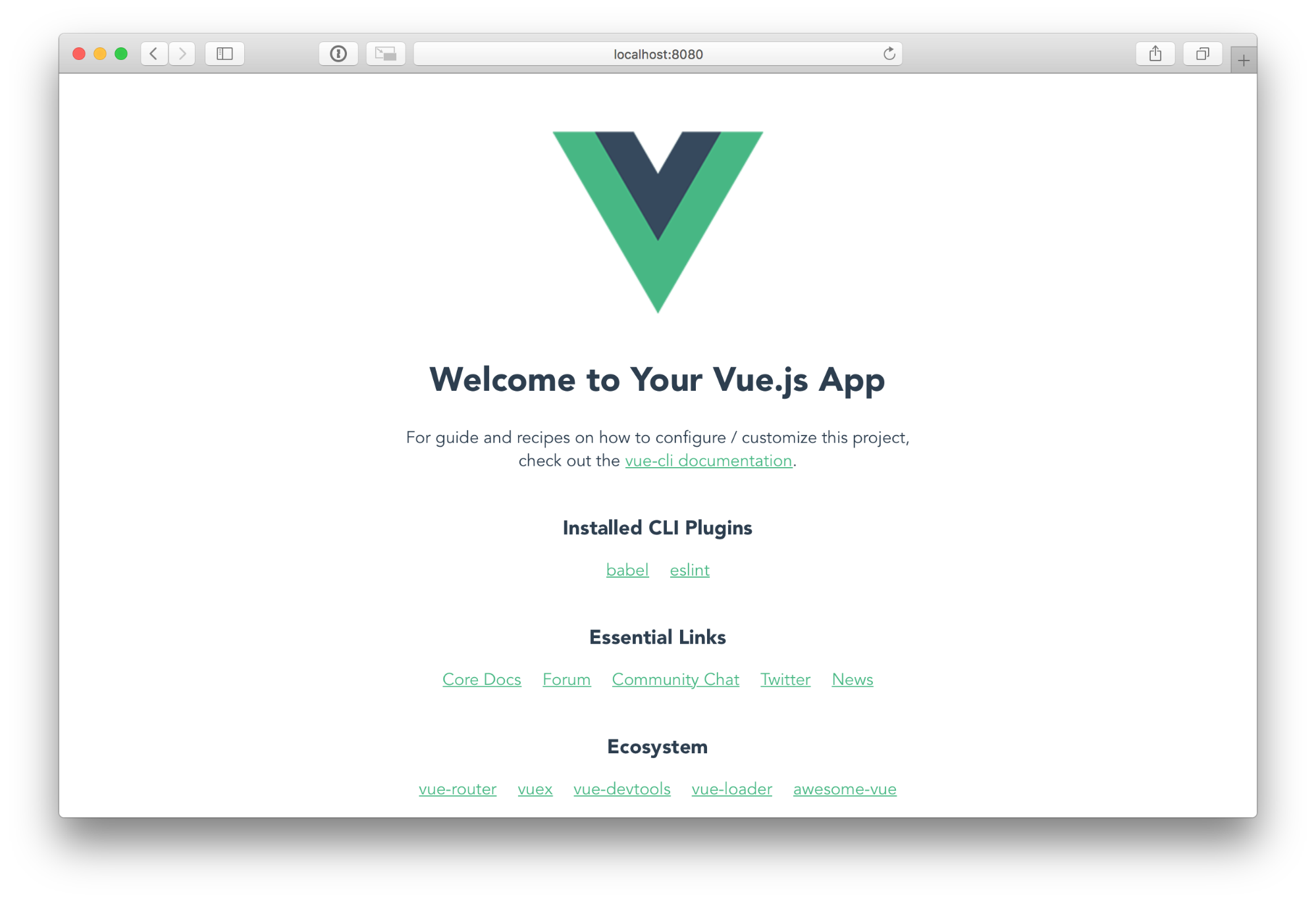 Vue default page