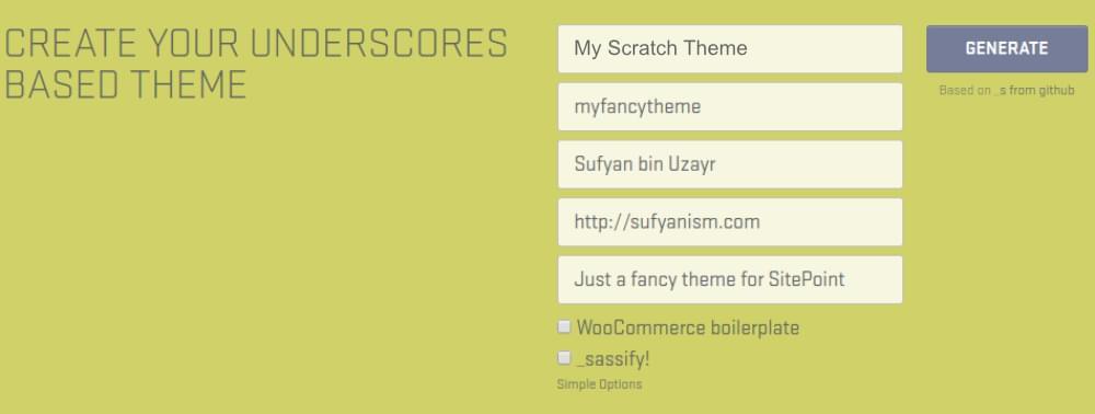 Setting up an Underscores starter theme