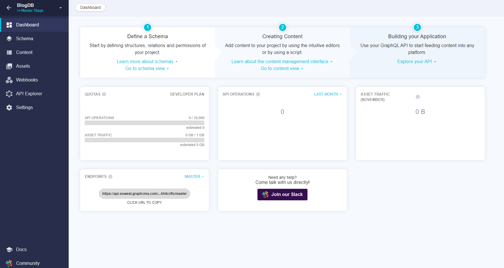The GraphCMS project dashboard