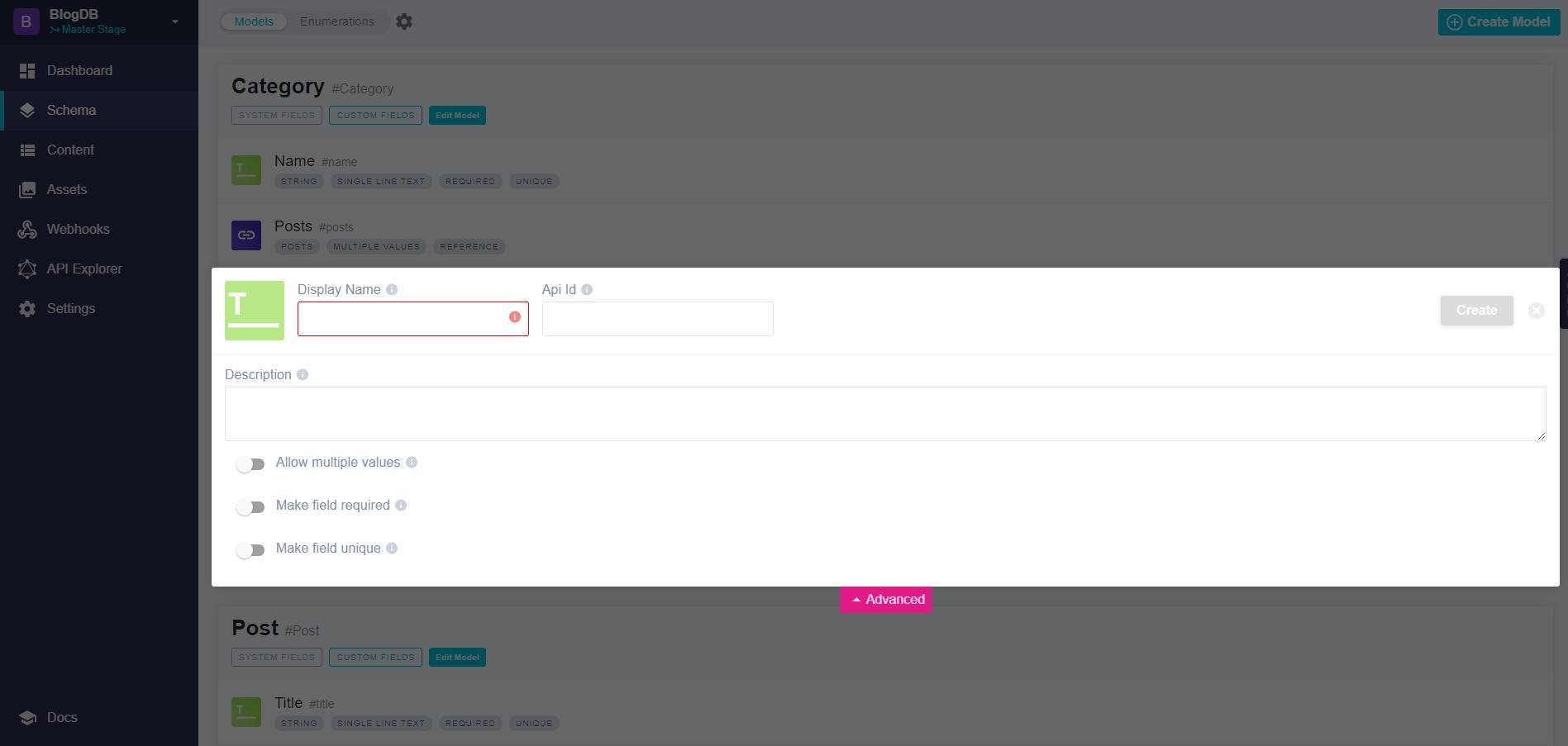Field attributes in the Advanced tab