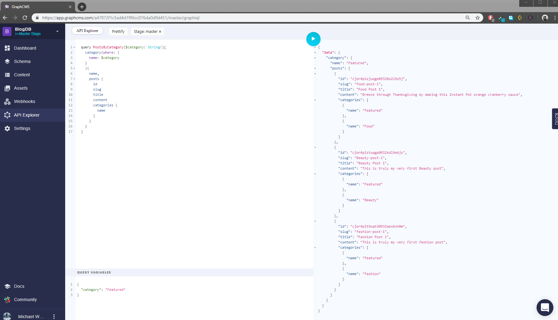 A GraphCMS query example