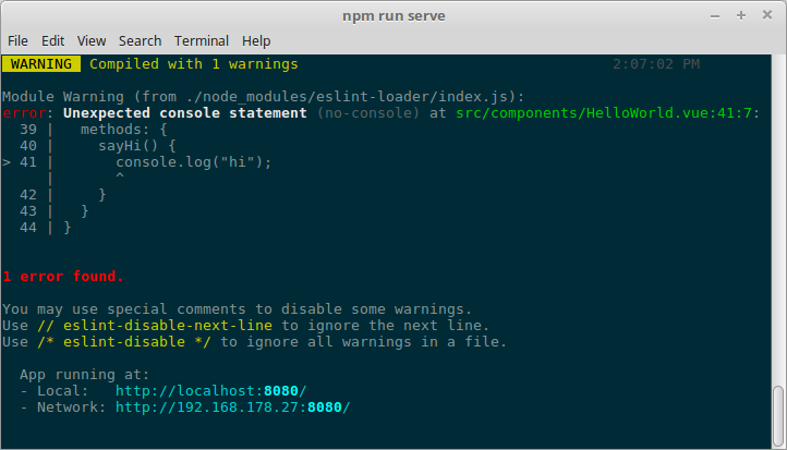 Linting error in the dev server console