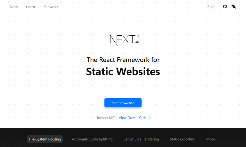Next.js React-based static site generator