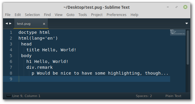 Pug without syntax highlighting