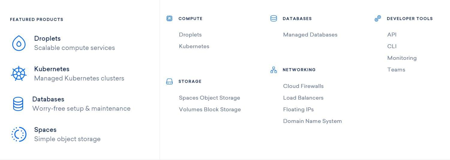 DigitalOcean featured products