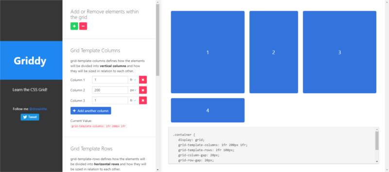 Griddy CSS Grid generator by Drew Minns