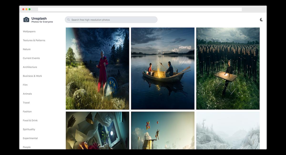 Unsplash Redesign - Light Theme