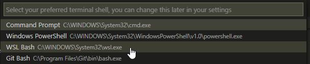 VS Code default terminal shell