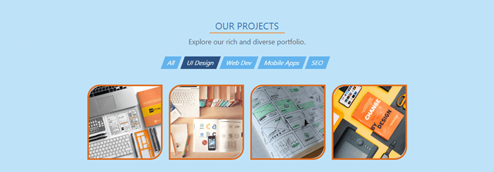 The Projects section