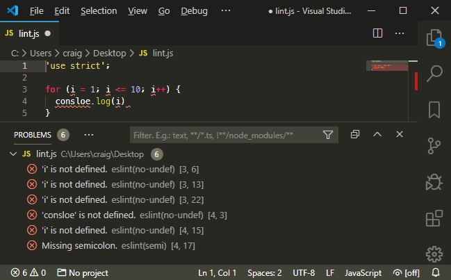 ESLint for VS Code
