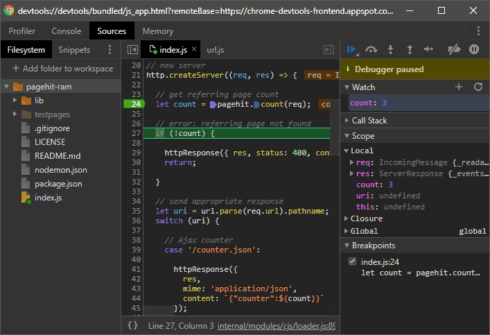 Chrome DevTools breakpoint