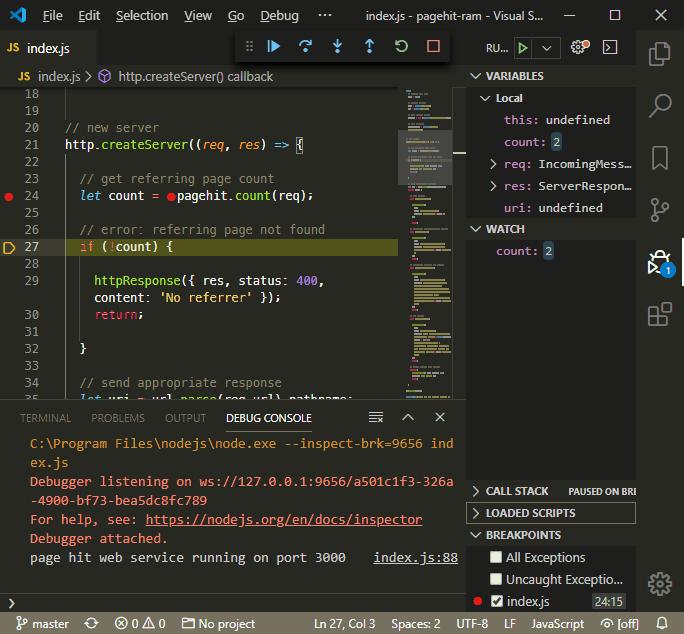 VS Code breakpoint