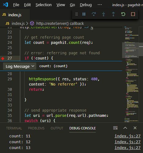 VS Code logpoint