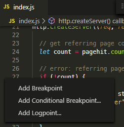 VS Code breakpoint options