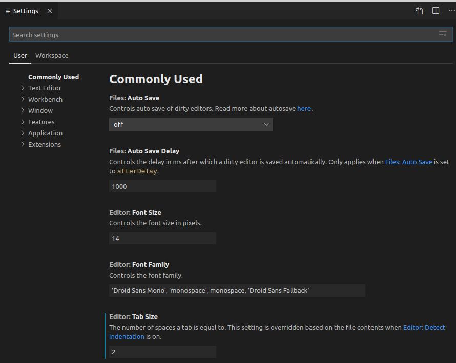 VS Code settings panel