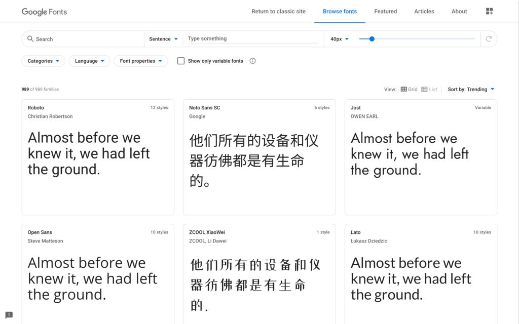 A screenshot of some Google fonts