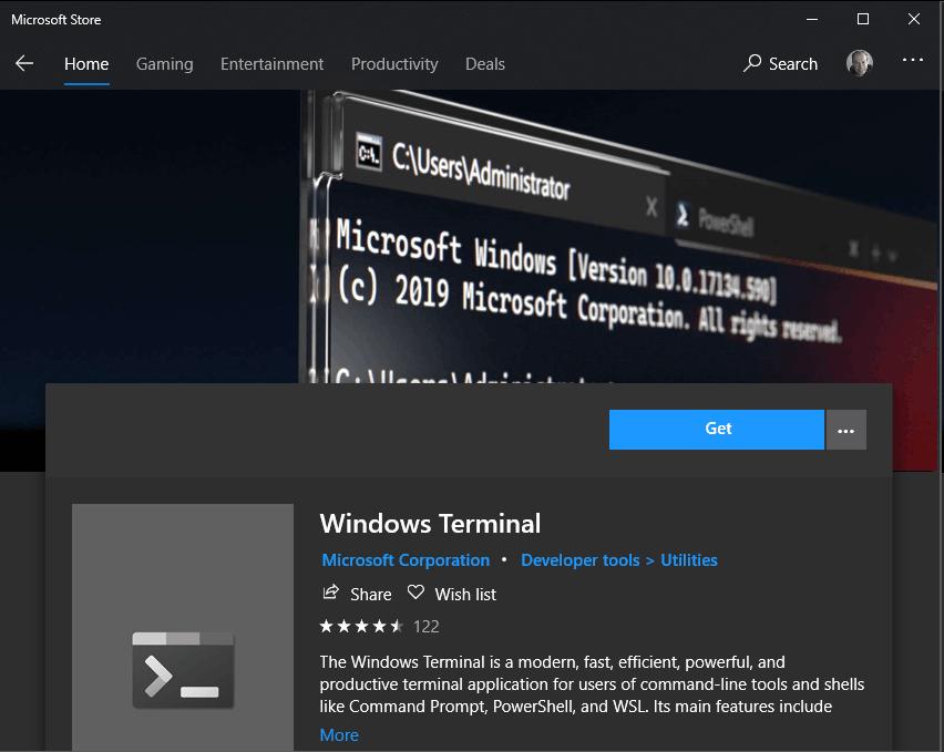 Windows Terminal at the Microsoft Store